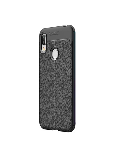 Microsonic Huawei Y6 2019 Kılıf Deri Dokulu Silikon Siyah Siyah